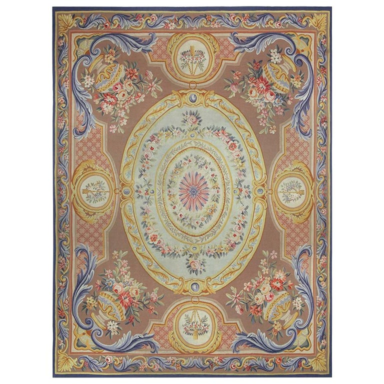 Vintage French Aubusson Rug For Sale