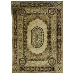 Vintage French Aubusson Savonnerie Design Area Rug with Regal Louis XV Style