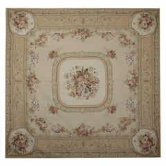 Vintage French Aubusson Style Rugs, Cream Tapestry Wall Hanging Handmade Carpet