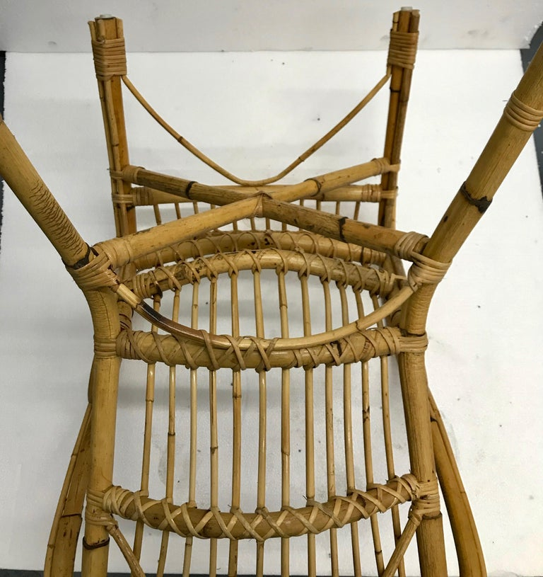 Vintage French Bamboo Armchairs, Set of Four, circa 1960s For Sale 7