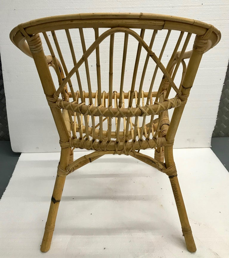 Vintage French Bamboo Armchairs, Set of Four, circa 1960s In Good Condition For Sale In London, GB
