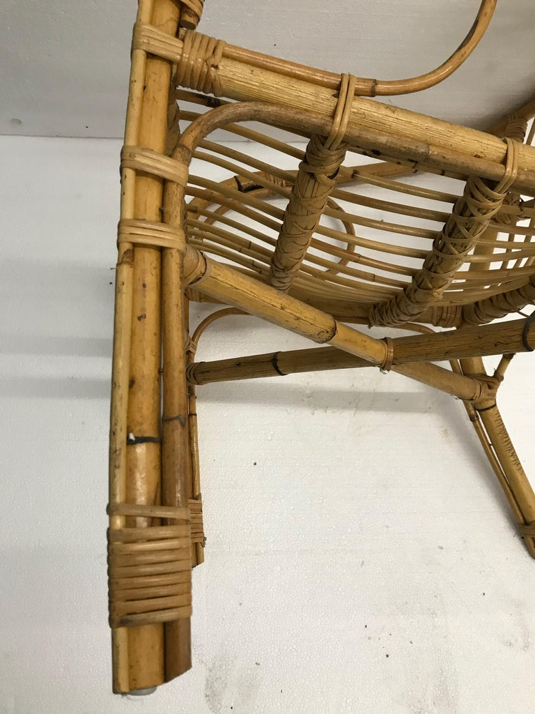 Vintage French Bamboo Armchairs, Set of Four, circa 1960s For Sale 3