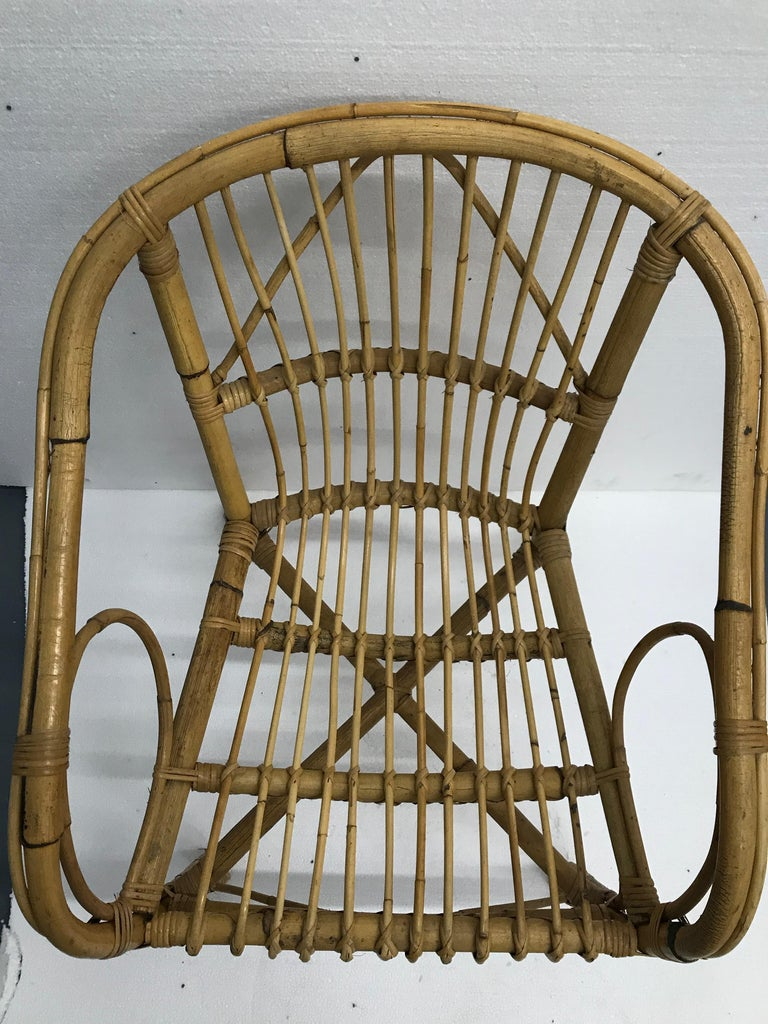 Vintage French Bamboo Armchairs, Set of Four, circa 1960s For Sale 4