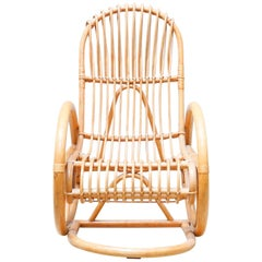 Vintage French Bamboo Rocking Chair, circa 1960