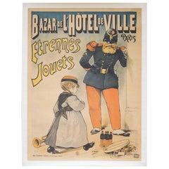 """Vintage French """"Bazar De l'Hotel De Ville Etrennes Jouets"""" Poster, circa 1915"""