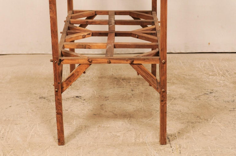 Vintage French Beautifully Crafted Open Wood Shelving Unit For Sale 6