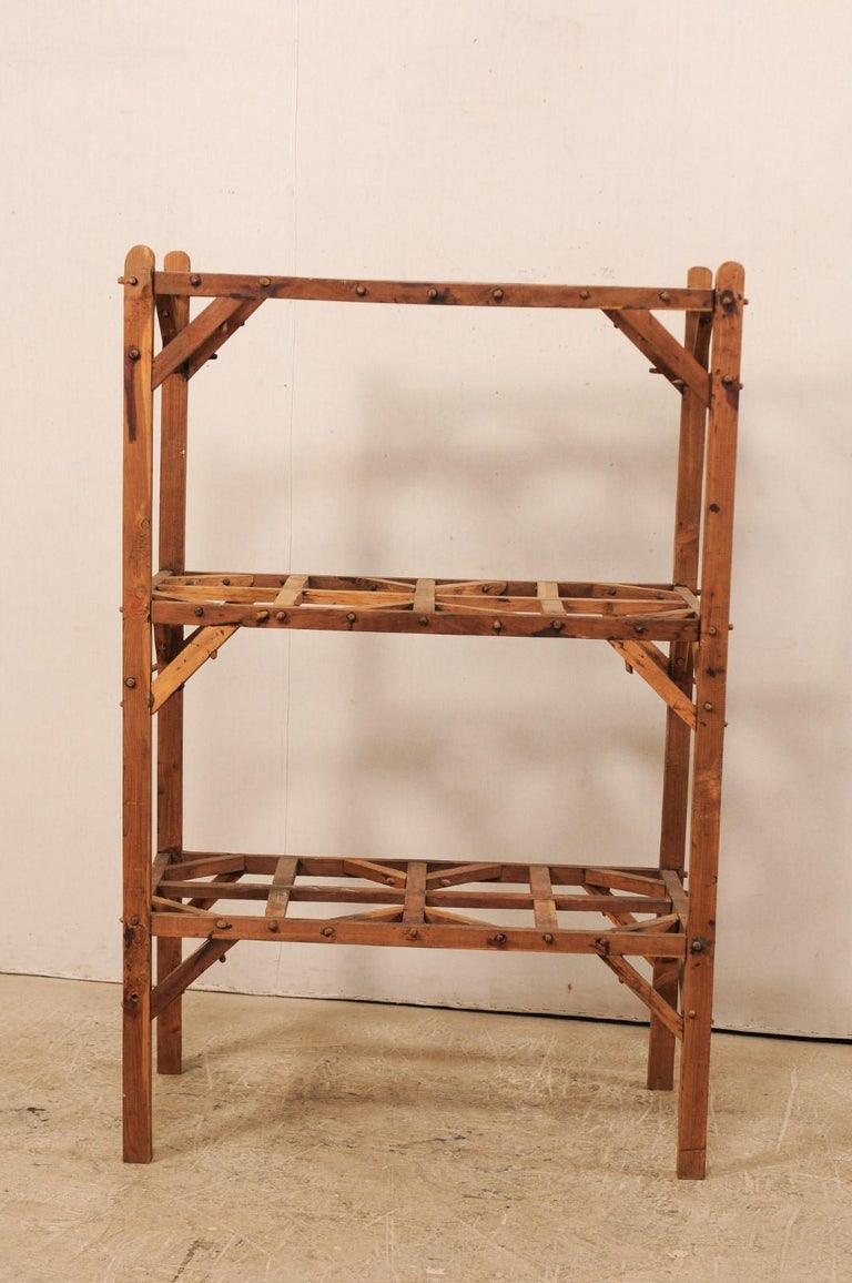 Hand-Crafted Vintage French Beautifully Crafted Open Wood Shelving Unit For Sale