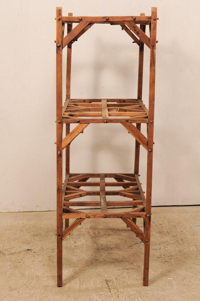 Vintage French Beautifully Crafted Open Wood Shelving Unit For Sale 3