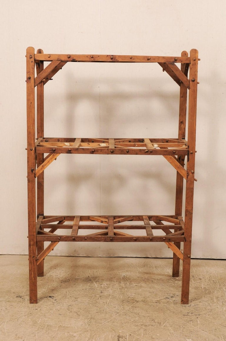 Vintage French Beautifully Crafted Open Wood Shelving Unit For Sale 4