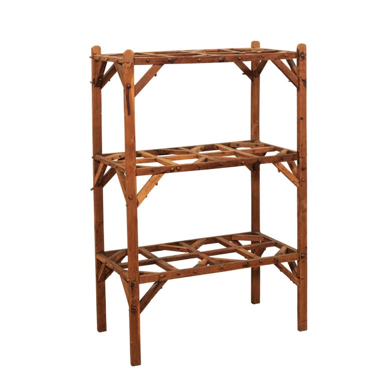 Vintage French Beautifully Crafted Open Wood Shelving Unit For Sale