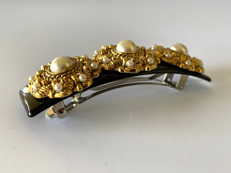 Women's Vintage French Black Galith Gold Pearl Hair Barrette