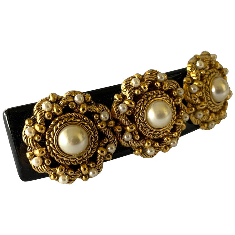 "Vintage French Black Galith Gold Pearl Hair Barrette ""hair clip"" For Sale"