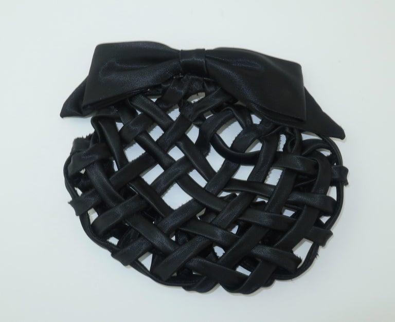 Women's Vintage French Black Satin Lattice Snood Hair Clip For Sale