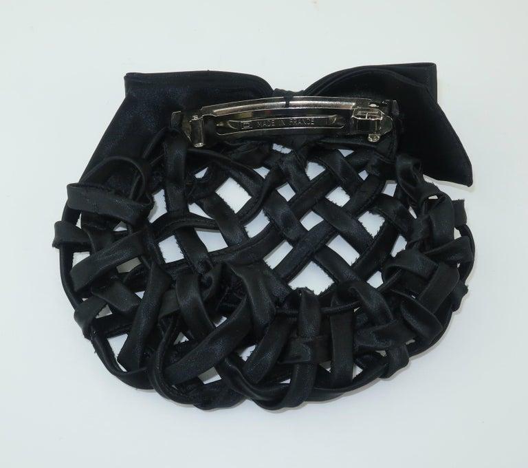 Vintage French Black Satin Lattice Snood Hair Clip For Sale 1