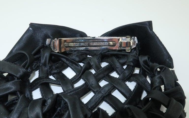 Vintage French Black Satin Lattice Snood Hair Clip For Sale 2