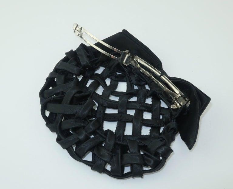 Vintage French Black Satin Lattice Snood Hair Clip For Sale 3