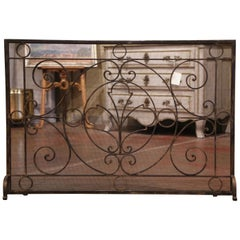 Vintage French Black Wrought Iron Fireplace Screen with Protective Mesh