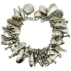 Vintage French Blackened Silver  Charm Bracelet 1980s