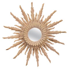 Vintage French Bleached Wood Midcentury Sunburst Mirror with Radiating Rays