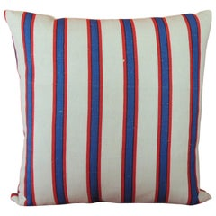 Vintage French Blue and Red Stripes Decorative Pillow