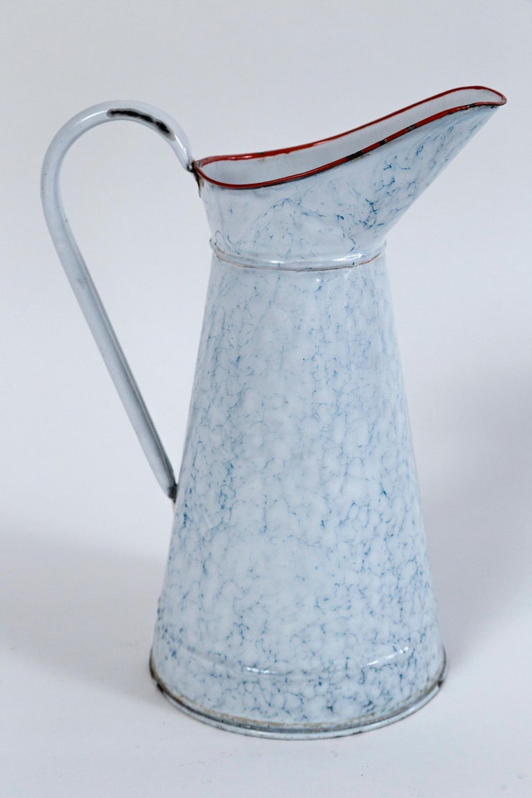 20th Century Vintage French Blue and White Enamelware Pitcher, circa 1920's For Sale