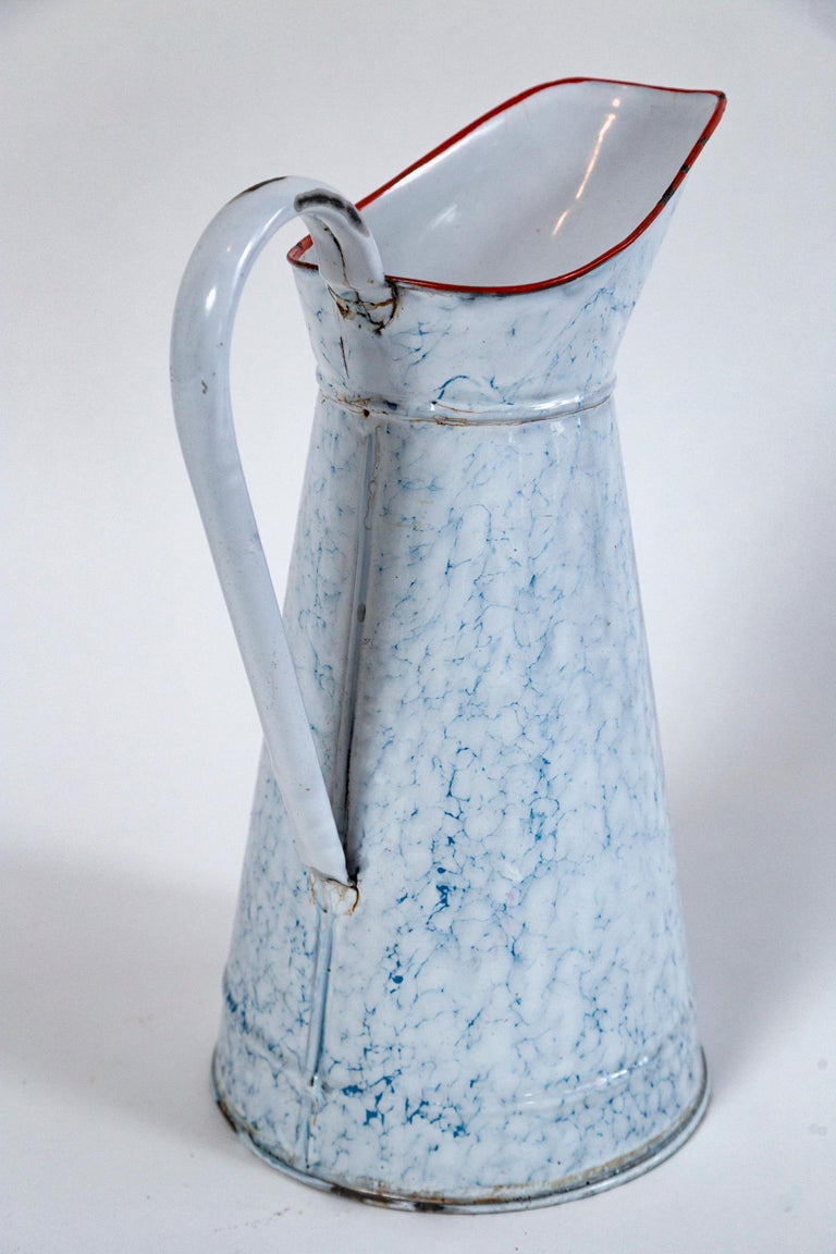 Metal Vintage French Blue and White Enamelware Pitcher, circa 1920's For Sale