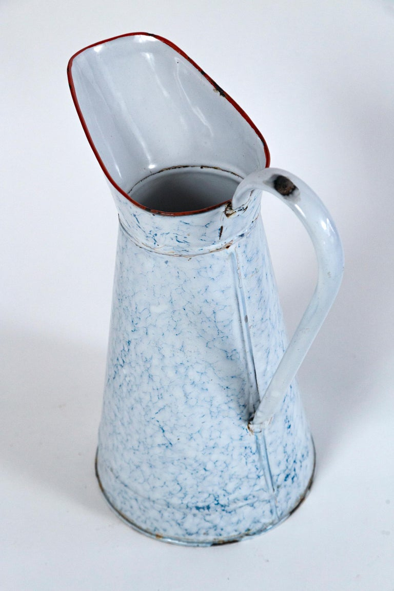 Vintage French Blue and White Enamelware Pitcher, circa 1920's For Sale 2