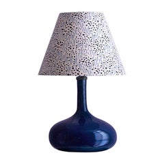 Vintage French Blue Ceramic Table with Customized Lampshade