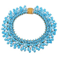 Vintage French Blue Glass Necklace 1950s