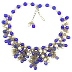 Vintage French Blue Poured Glass Faux Pearl Necklace 1940s