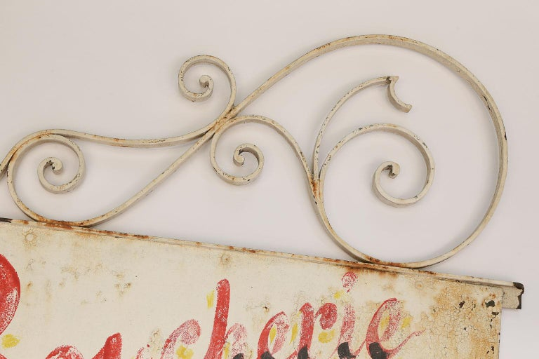 Hand-Painted Vintage French Boucherie Charcuterie Shop Sign For Sale