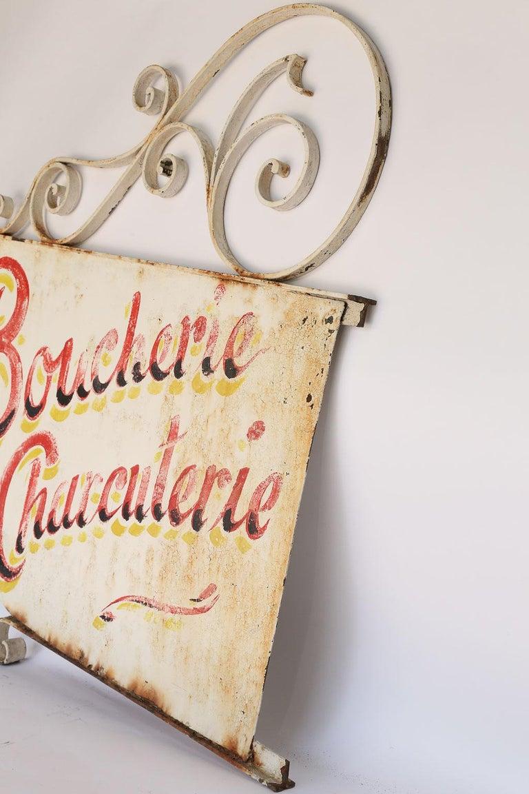 20th Century Vintage French Boucherie Charcuterie Shop Sign For Sale