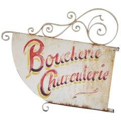 Vintage French Boucherie Charcuterie Shop Sign