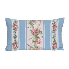 Vintage French Boussac Versailles Fabric Irish Linen Cushion Bed Pillow Blue