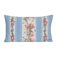 Vintage French Boussac Versailles Fabric with Irish Linen Cushion Pillow Blue
