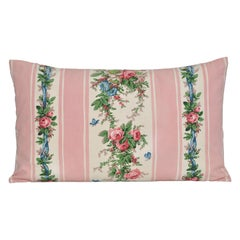 Vintage French Boussac Versailles Fabric with Irish Linen Cushion Pillow Pink