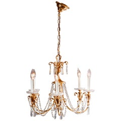 Vintage French Brass and Crystal Nine-Light Chandelier, circa 1930