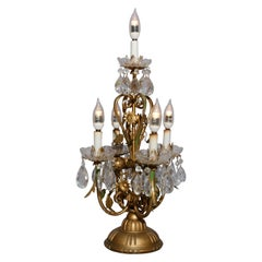 Vintage French Brass and Crystal Prism Candelabra Table Lamp, circa 1950