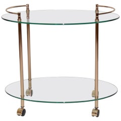 Vintage French Brass and Glass Drinks Trolley