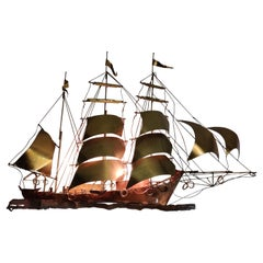 Daniel D'haeseleer copper sailboat sculpture