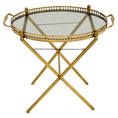 Vintage French Brass Folding Side Table