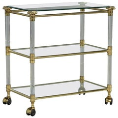 Vintage French Brass Glass and Lucite Serving Cart