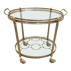 Vintage French Brass Oval Drinks Trolley or Bar Cart