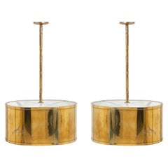 Vintage French Brass Pendant Lights, Pair