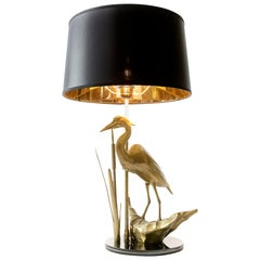 Vintage French Brass Table Lamp with Bird Figure by Maison Charles