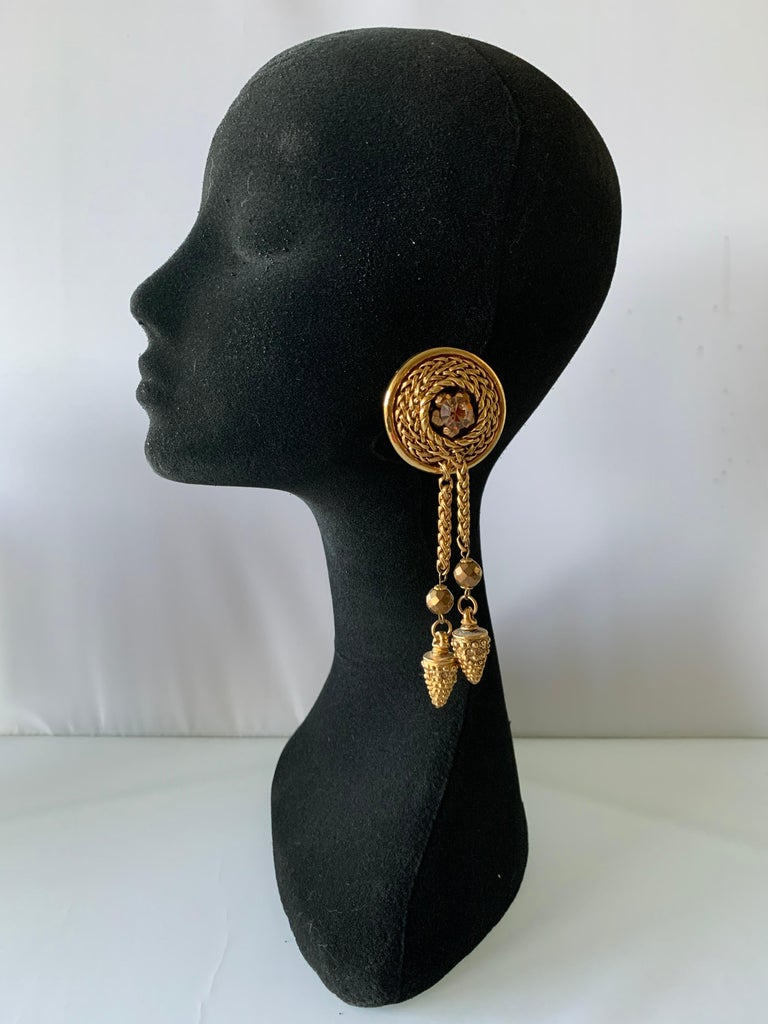 Rococo Vintage French Bronze Tassel Statement Earrings  For Sale