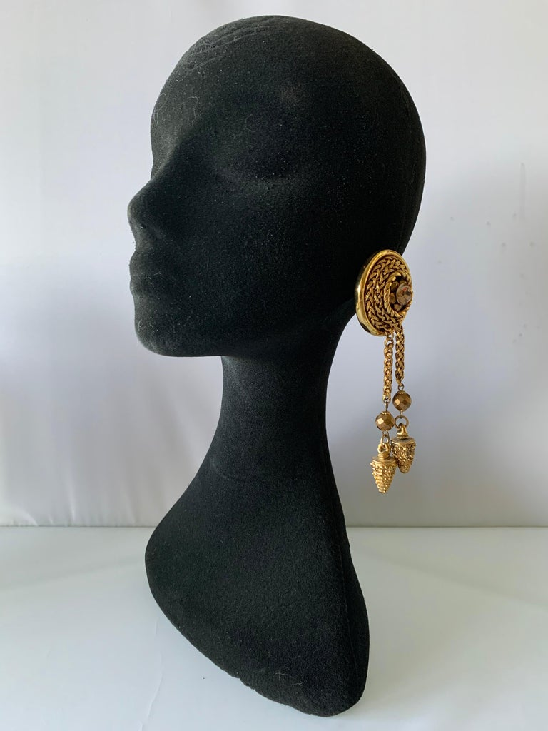 Vintage French Bronze Tassel Statement Earrings  In Excellent Condition For Sale In Palm Springs, CA