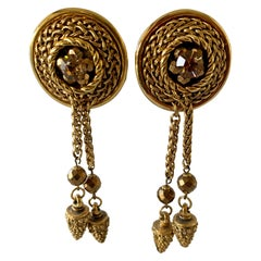 Vintage French Bronze Tassel Statement Earrings