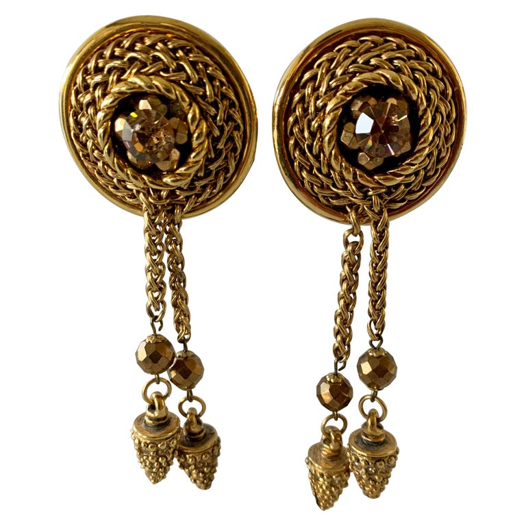 Vintage French Bronze Tassel Statement Earrings  For Sale