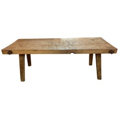 Vintage French Butcher Block Coffee Table